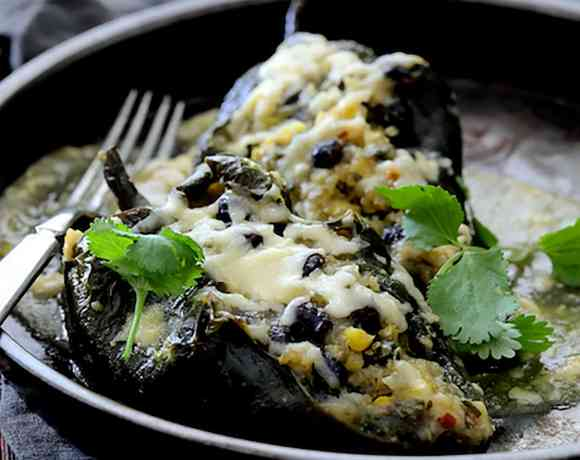 Quinoa Corn and Black Bean Stuffed Poblano Peppers