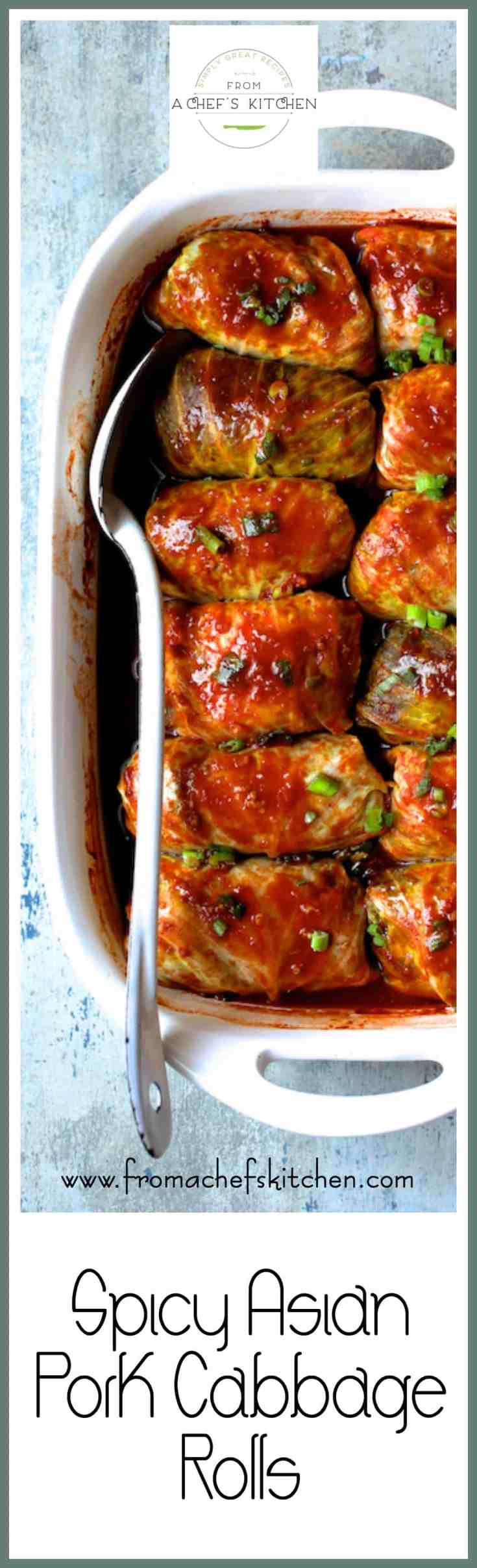 Spicy Asian Pork Cabbage Rolls are a spicy, Asian-inspired twist on traditional cabbage rolls! Use turkey, chicken, beef or even tofu if you prefer! #pork #cabbage #asian #cabbagerolls
