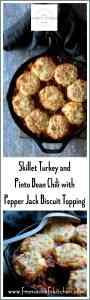 Skillet Turkey Pinto Bean Chili with Pepper Jack Biscuit Topping is a one-dish meal your family will be excited to dig into! #skillet #turkey #turkeychili #pintobean #bean #biscuit #poultry