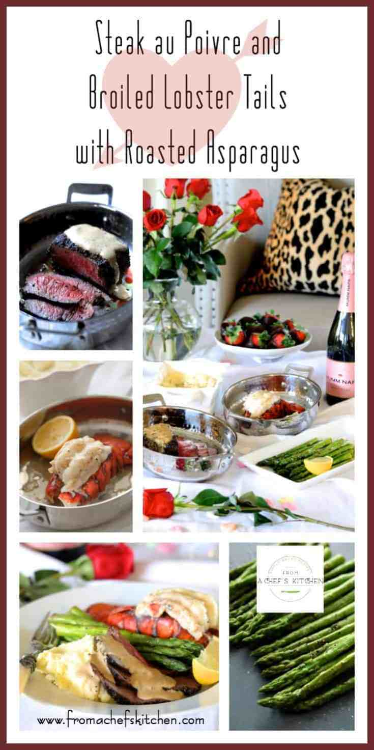 MSG 4 21+ #MyTFMValentine #TheFreshMarket#CollectiveBias #Ad - Steak au Poivre and Broiled Lobster Tail with Roasted Asparagus, part of The Fresh Market's Valentine's Day Meal is the perfect way celebrate Valentine's Day! Here, their Premium Choice Chateaubriand Cut Filet Mignon and North Atlantic Cold Water Lobster Tails combine for an elegant, romantic meal you'll both love! @TheFreshMarket