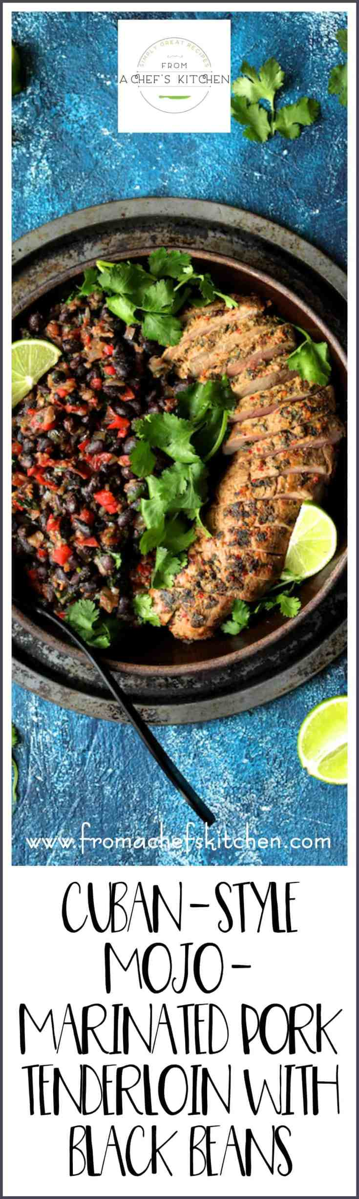 Cuban Style Mojo Marinated Pork Tenderloin with Black Beans is tropics-inspired with bright, citrusy flavor and easy enough for a weeknight! #cuban #mojo #porktenderloin #pork #blackbeans