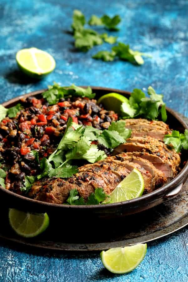 Cuban Style Mojo Marinated Pork Tenderloin with Black Beans