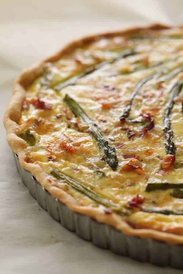Asparagus Prosciutto and Fontina Tortino - Closeup of whole tortino