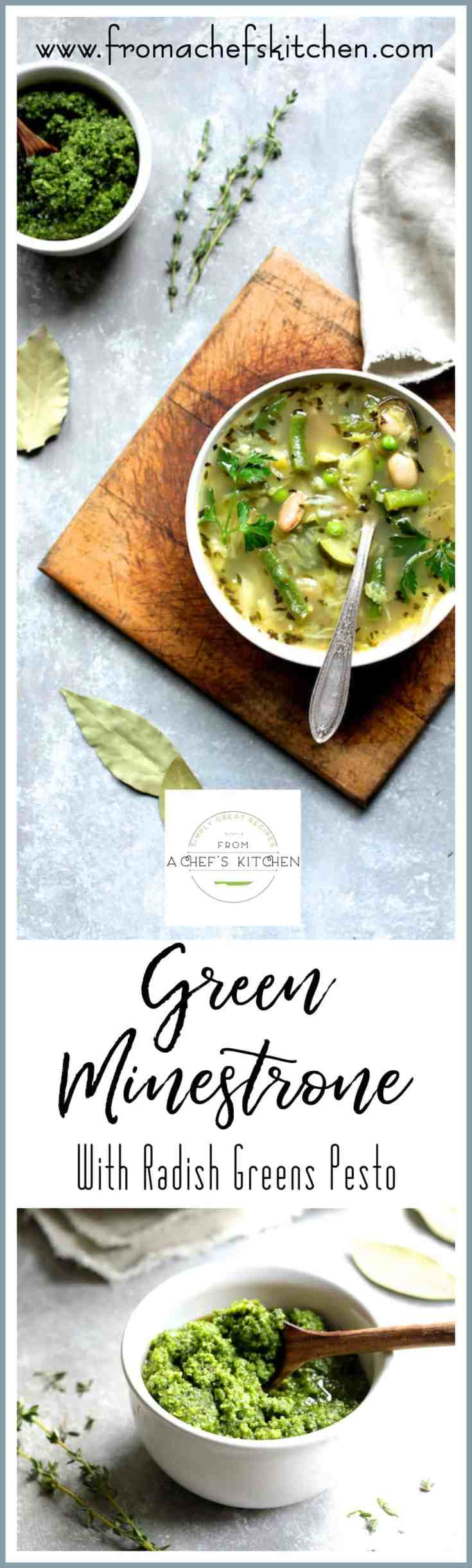 Green Minestrone with Radish Greens Pesto is a healthful taste of spring!  A twist on classic Italian minestrone, this version has lots of spring vegetables which will make transitioning from cold weather to warm weather easy and delicious! #soup #minestrone #greenminestrone #pesto