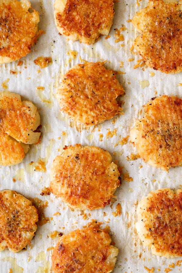 Parmesan Crusted Crushed Turnips - Overhead shot after baking