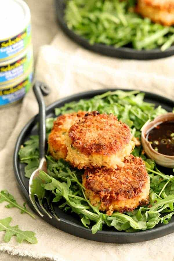 Tuna Kimchi Cakes with Soy Ginger Dipping Sauce
