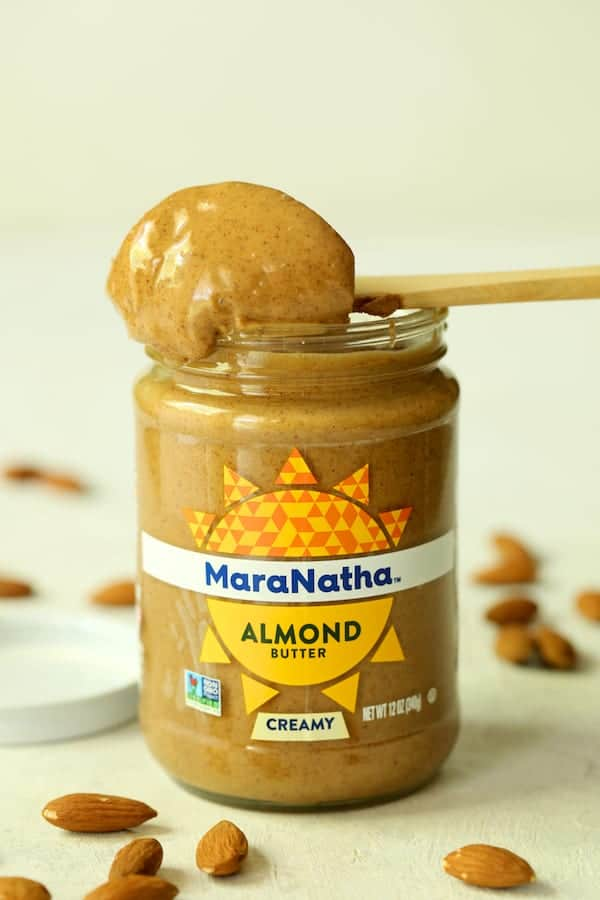 Spicy Indonesian Vegan Carrot Almond Soup - Photo of MaraNatha Creamy Almond Butter opened with scoop of the butter on top