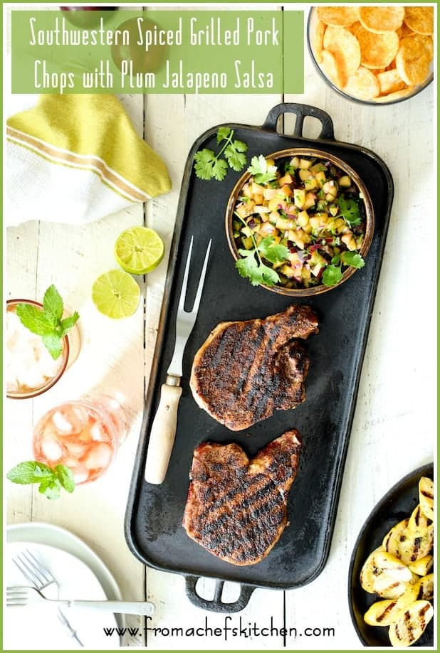 Southwestern-Spiced Grilled Pork Chops with Plum Jalapeno Salsa is a delicious, summery date night dinner for two that you can pull together easily!