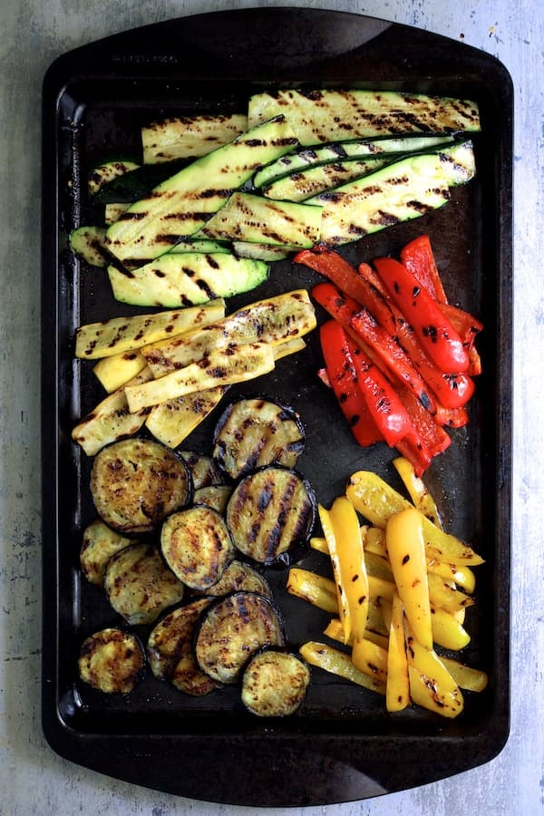 Italian Summer Vegetable Casserole - Vegetables on baking sheet after grilling