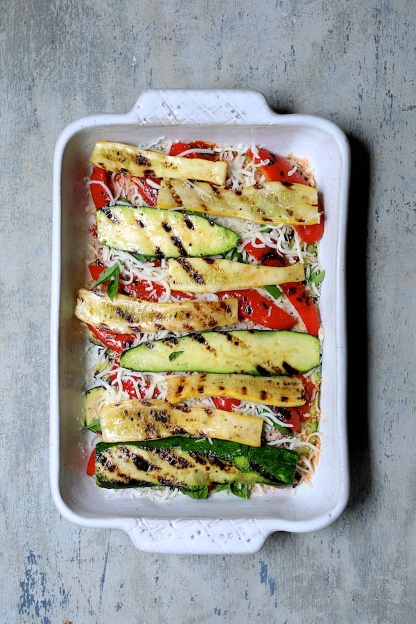 Italian Summer Vegetable Casserole - Third layer of more zucchini and yellow squash