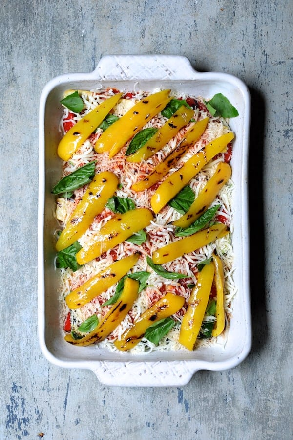 Italian Summer Vegetable Casserole - Another layer with yellow bell pepper and basil