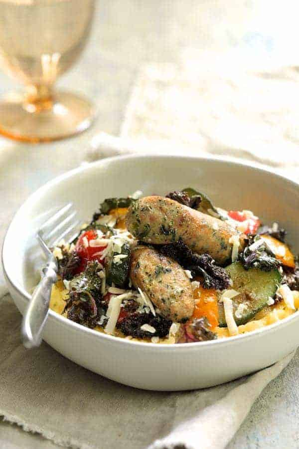 Mediterranean Sheet Pan Chicken Sausage and Vegetables with Garlic Parmesan Polenta