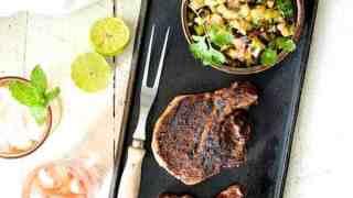 Southwestern Spiced Grilled Pork Chops with Plum Jalapeno Salsa