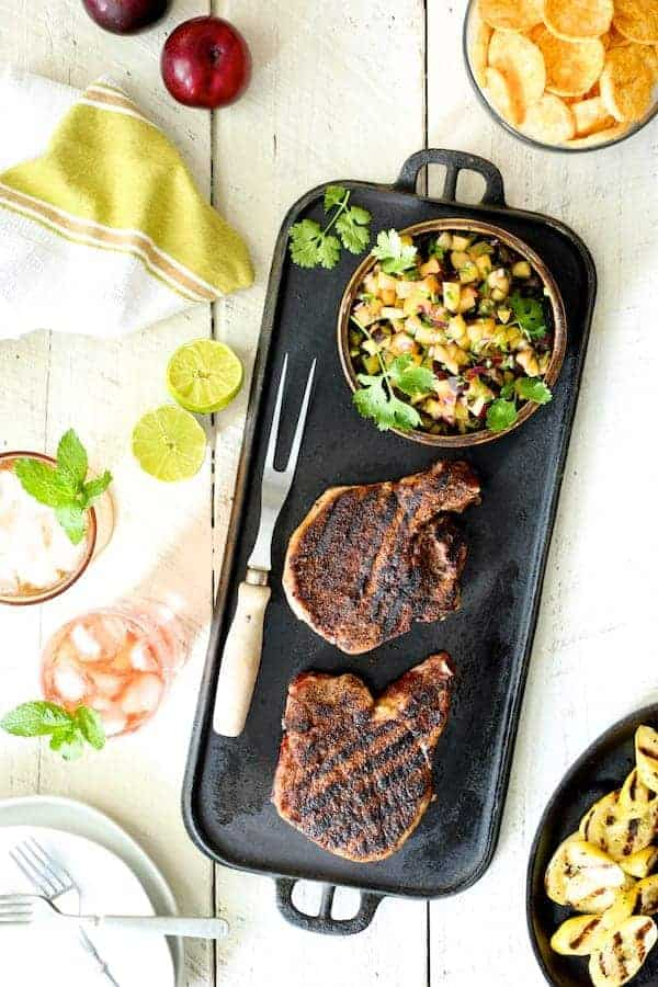 Southwestern Spiced Grilled Pork Chops with Plum Jalapeno Salsa