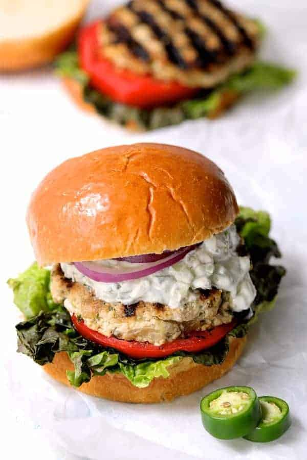 Chicken Zucchini Feta Burgers with Jalapeño Tzatziki - Close-up hero shot
