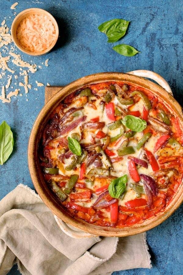 Italian Sausage and Bell Pepper Polenta Bake