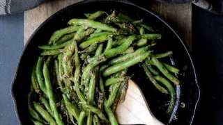 Skillet Charred Green Beans with Goat Cheese Chipotle Butter