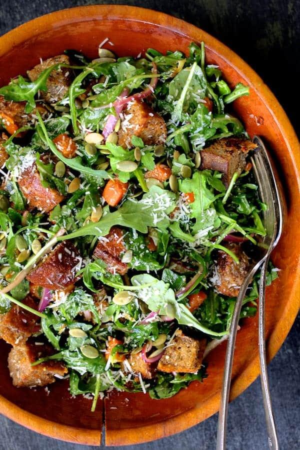 Autumn Panzanella Salad - Close-up shot of salad