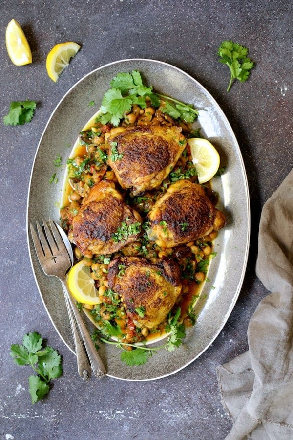 Moroccan Chicken Tagine with Butternut Squash Chickpeas and Olives