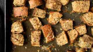 Waste Not:  Whole Grain Croutons with Thyme Rosemary and Parmesan