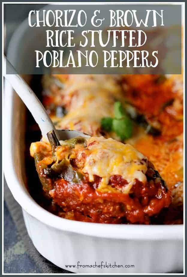 Chorizo Brown Rice Stuffed Poblano Peppers are spicy, comforting and a great make-ahead meal for a festive late-fall family dinner or for casual entertaining.