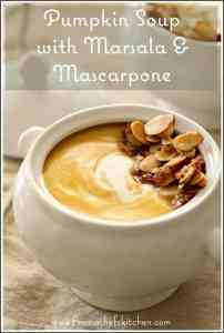 Pumpkin Soup with Marsala and Mascarpone with a lovely toasty, buttery almond topping is the perfect elegant starter to all your holiday meals!