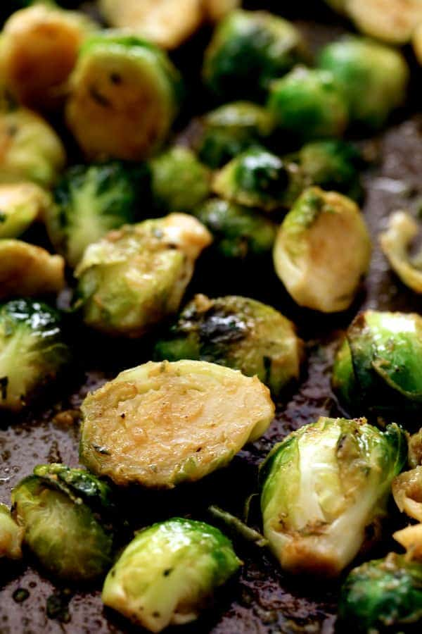 Roasted Brussels Sprouts with Thai Green Curry Butter - Close-up of roasted sprouts