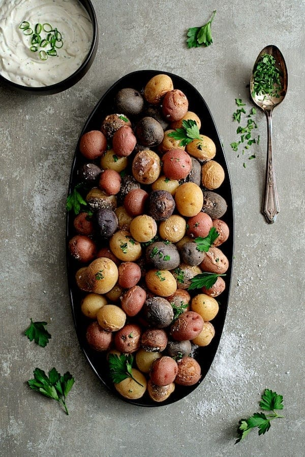 Skillet Salt-Roasted Baby Potatoes with Sour Cream - Horseradish Sauce