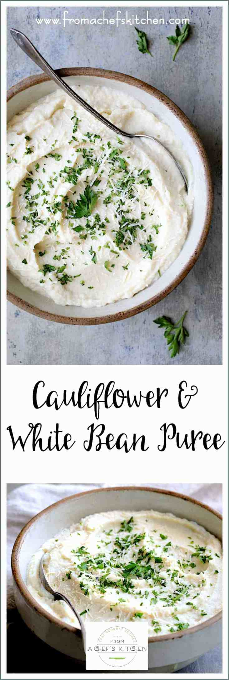 Cauliflower White Bean Puree is the perfect stand-in for decadent mashed potatoes!  Cream cheese makes it creamy while white beans add that touch of thickening and body you crave in a mashed potato substitute while keeping it low-carb!