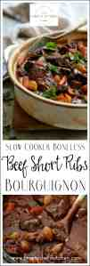 Slow Cooker Boneless Beef Short Ribs Bourguignon is the easiest way to make this classic French wine country dish! And everyone needs some Beef Bourguignon in their winter! #beef #beefshortribs #beefbourguignon #French #shortribs