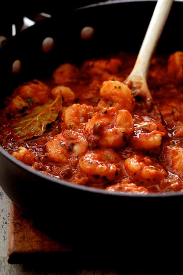 The Best Shrimp Creole - Shrimp Creole in skillet