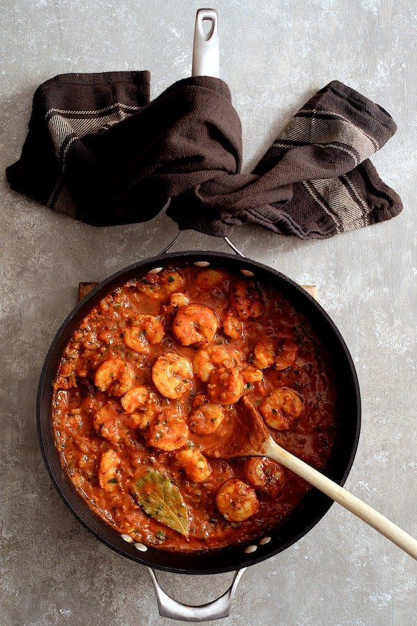 The Best Shrimp Creole - Overhead shot of dish in skillet