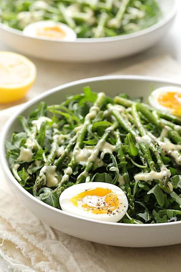 Arugula, Egg and Asparagus Salad with Creamy Lemon Vinaigrette - Straight-on shot of dish