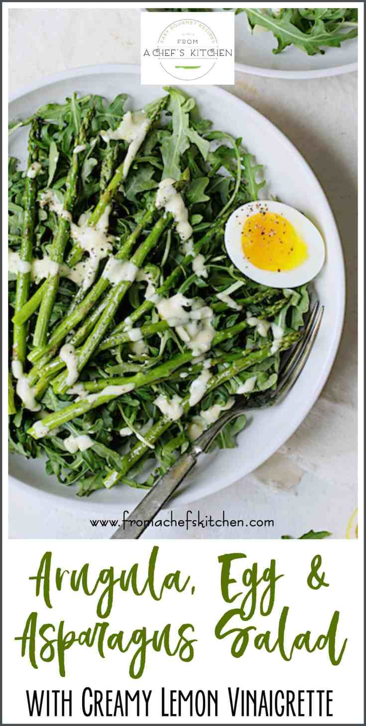 Arugula, Egg and Asparagus Salad with Creamy Lemon Vinaigrette is the perfect way to kick off spring! Peppery arugula, roasted asparagus, soft-boiled eggs and a lively lemon vinaigrette make the perfect side dish salad for a spring evening! #arugula #eggs #asparagus #lemon #salad