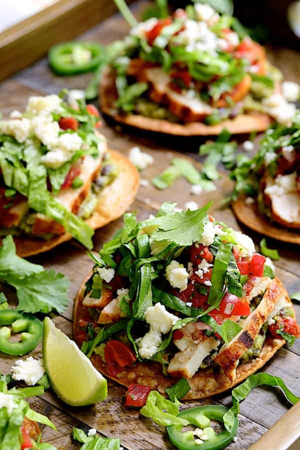 Chicken Tostadas with Black Bean Guacamole and Salsa Fresca - Straight-on close-up shot
