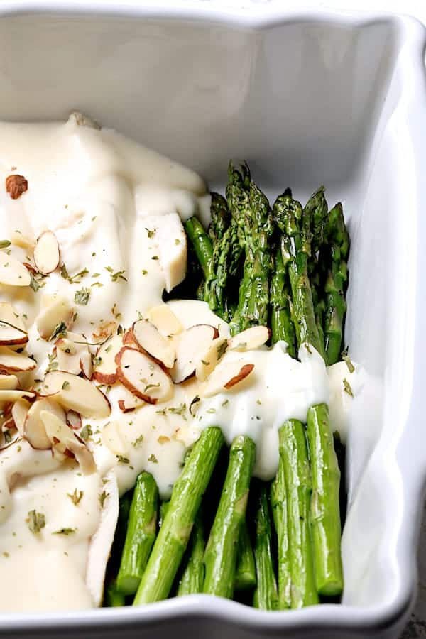 Chicken Asparagus Divan - Close-up shot of asparagus in baking dish