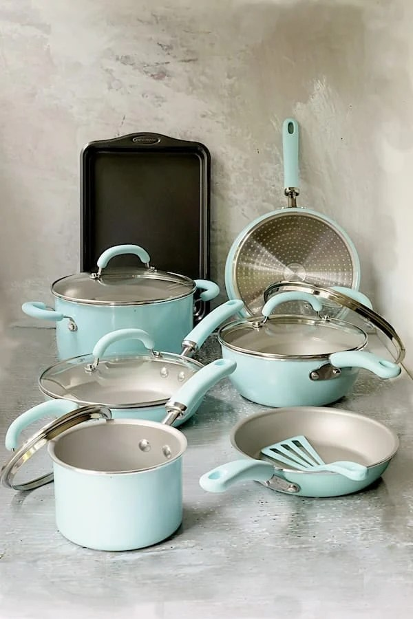Photo of Rachael Ray Cookware set on marble background