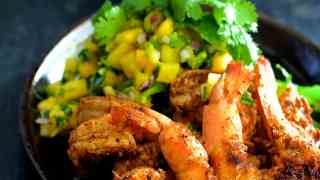 Grilled Citrus Chili Shrimp with Mango Pineapple Salsa