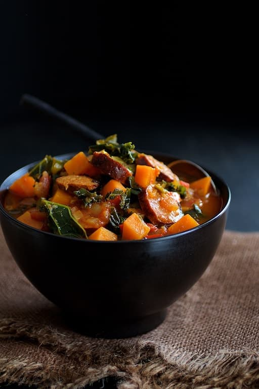 Chorizo Kale and Sweet Potato Stew