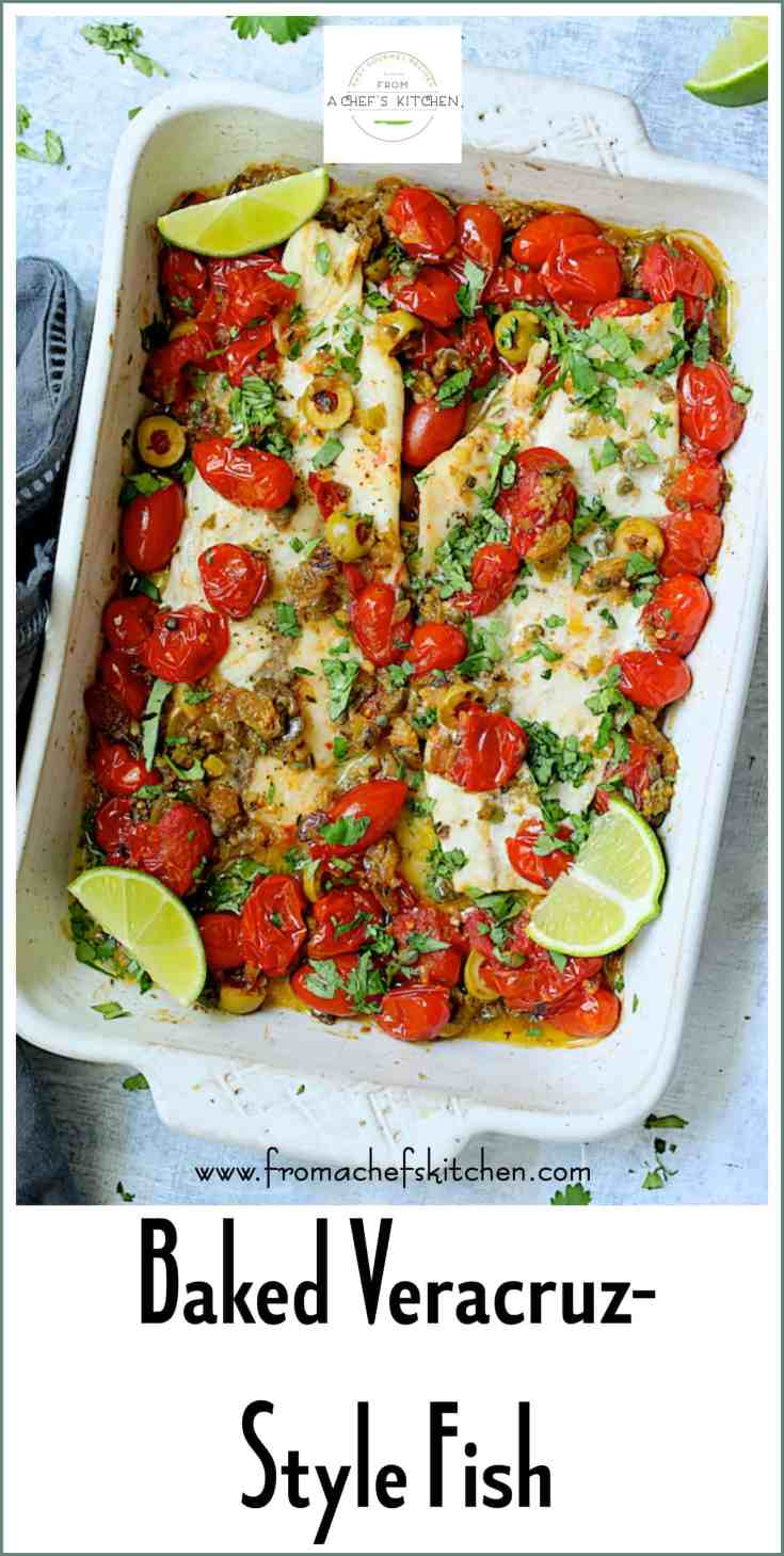 Baked Veracruz-Style Fish (Pescado A La Veracruzana) is an easy, light, colorful and super-flavorful dish perfect for a weeknight or date night! This classic dish will add tons of flavor to your next meal with sweet grape tomatoes, olives, capers, raisins and jalapenos!