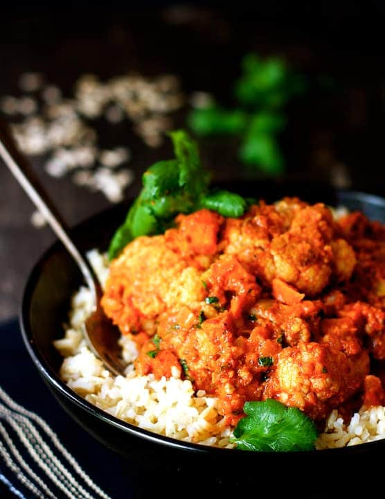 Cauliflower and Sweet Potatoes in Roasted Red Pepper Mole