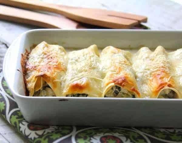 Chicken, Spinach and Artichoke Cannelloni