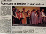 Chapitre mai 2012, fête du Saint Nectaire