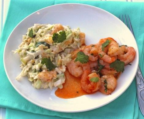 Spicy Shrimp with Peach Coleslaw