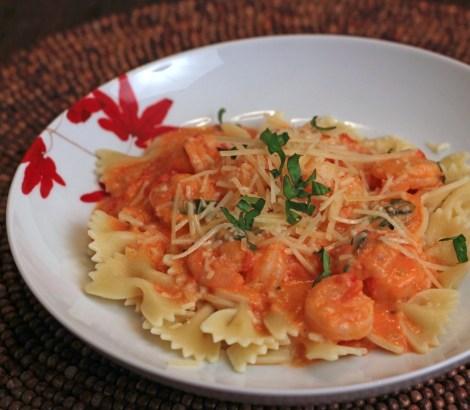 Creamy Tomato Shrimp with Bow Tie Pasta