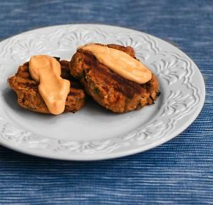 Alder Wood Smoked Salmon Patties with Sriracha Mayonnaise