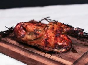 Smoked Rosemary Brick Chicken