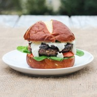 Black and Blue Burgers with Sauteed Mushrooms and Horseradish Sauce