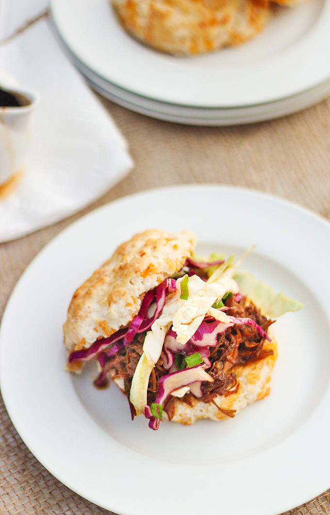 Slow Cooker Pulled Pork Cheddar Biscuit Sliders with Asian Cole Slaw