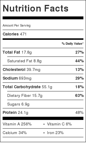 Black Bean and Sweet Potato Enchilada Bake Nutrition Label